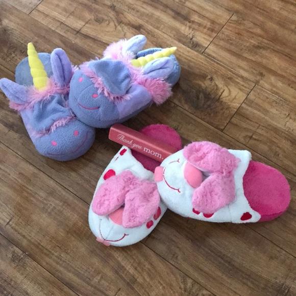 Girls Stompeez Bunny and Unicorn slippers